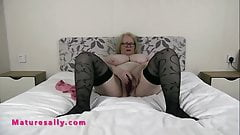 Busty Mature Sally slams her pussy in private