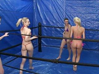 Tanga bottom bikini - Oily bikini tanga fight