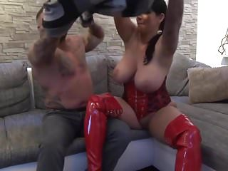 Red latex bolero Big titted slut in red latex fucked in the ass