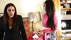 BUSTY SUGAR MAMA GREETED BY HER LESBIAN TEEN LOVER