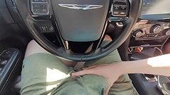 Public car handjob with cumshot