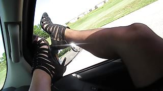 Putting my Nylons on and modeling my shoes