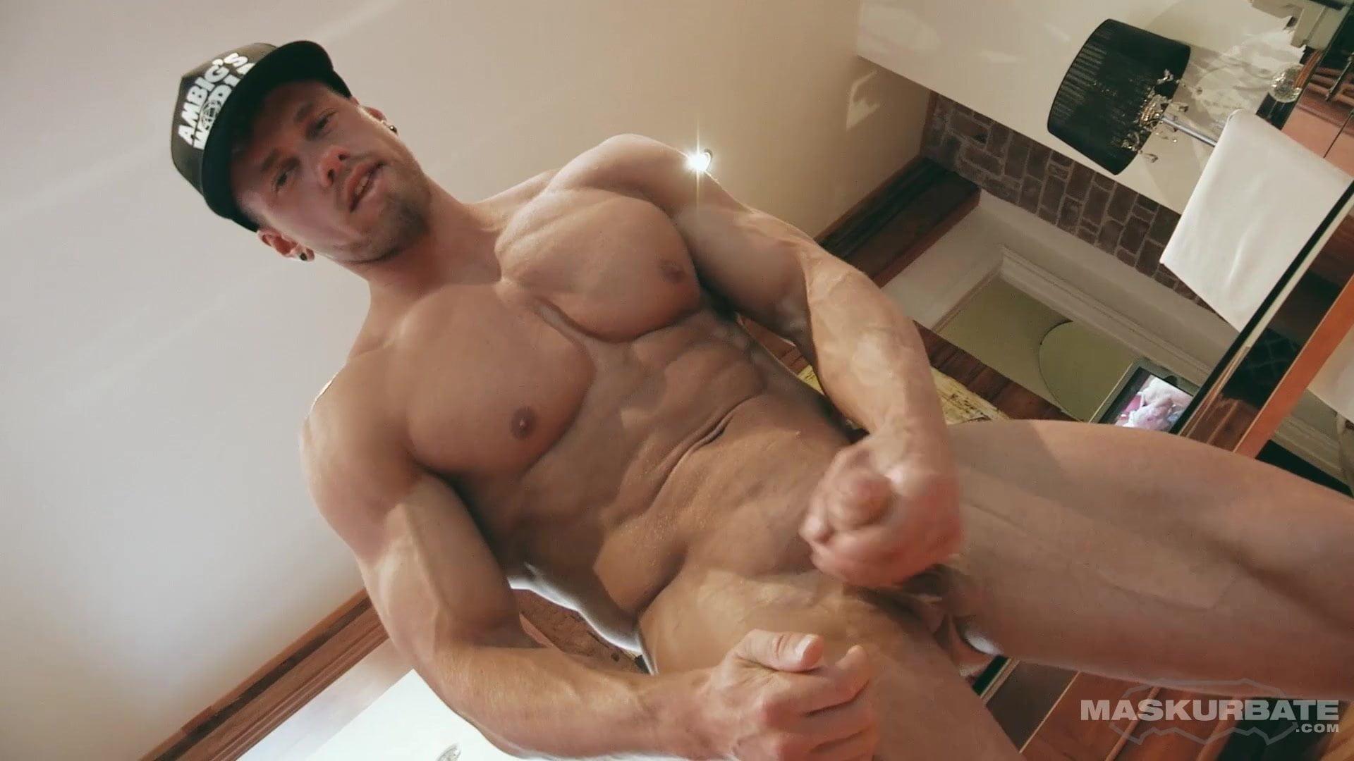 Hot gay jock strokes his dick