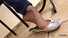 Sexy Teen in nylons shoeplay and nylon foot soles POV video