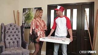 Big Tits MILF in Lingerie Sucks and Fucks The Pizza Guy