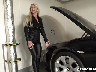 Old rich sluts Old and rich leather dressed slut fucks the car repair guy
