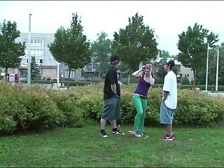 Public sex fuck in Cute young girl fucked by 2 teen guys in public sex gangbang