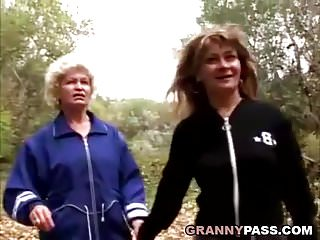 Hairy forest ranger Granny lesbian love in the forest
