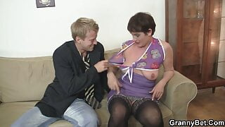 Old hairy grandma is riding his young big dick