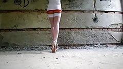 White stockings, high heels, panties under the dress