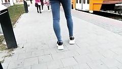 Candid street voyeur teen ass - thight blue jeans