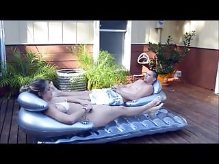 Free porno sun Katie makes step brother rub sun lotion on her hot body