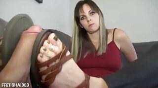 KinkyFootGirl- Bitchy Neighbor Gets Loads of Cum on Sandals