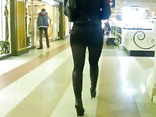 Boots nylons sex Russian woman in short skirt and high heel boots spying