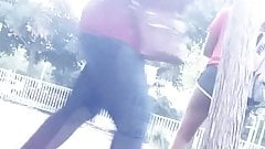 Hot ebony in shorts caught bending in shorts