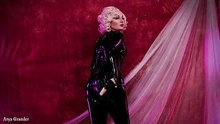 Arya Grander compilation video black latex catsuit