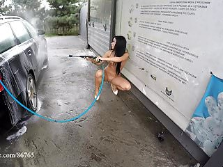 Naked girl car wash Natalia naked - gas station - car washes