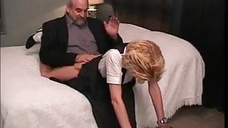 Innocent cute blonde's bare ass gets spanked red with a yardstick