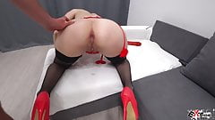 Tied Up Girlfriend Deep Sucking Big Dick and Anal Fuck