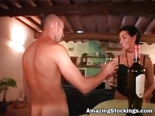 Sexy brunetta stocking German milf in sexy black stockings anal gangbang party