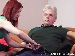 Gay old boy Redhead babe makes horny old boy feel young again