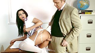 Teacher Seduces Big Clit and Tits Schoolgirl Eva for Rough Sex