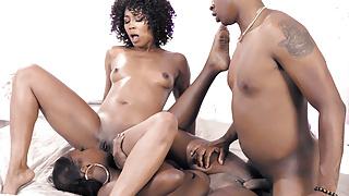 Black stepsister fights with bro over their ebony stepmom