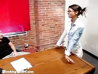 Stockings fucking Alexa in white stockings fucking her boss