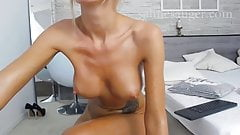 oiled up blonde with fake tits