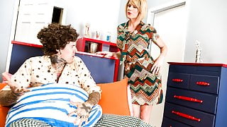 Trans Stepmom Drains Her Stepson's Cock Of All His Cum!