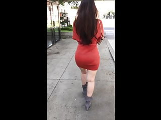 Vietnamese big ass - Candid asian girlfriend orange dress vpl