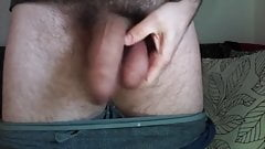 BIG WHITE MONSTER COCK BULGE IN PANTS POPPS OUT AND SWING