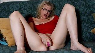 Blonde Mature Girl Masturbates with New Sex Toy