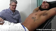 Bound black dude receives tickle torment from older gentlema