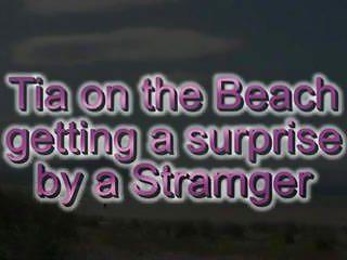 Beach cumshot - Tia on a public beach surprise