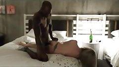 Hot blonde enjoys Black dick in hotel