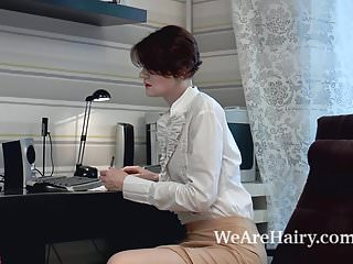 Natural naked redheads - Alise strips naked and masturbates after work
