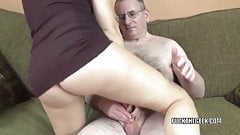 Brunette coed Alisha Adams gets fucked by a lucky geek