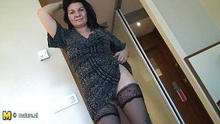 Amateur stepmom-next-door plays with her toys