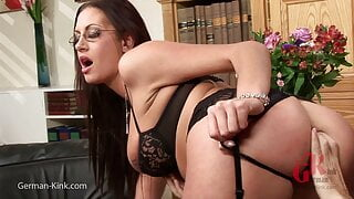 Office Girl with big Cock in the Ass, Stockings an Glasses