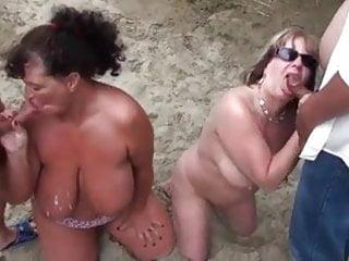 Bukake porn Beach bukake