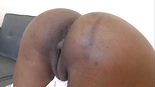 Ebony fucked in doggystyle and creampied
