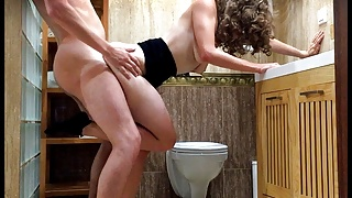 Fucked hard from behind in a hotel bathroom