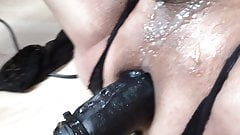 Fuck Machine with own cum as lube and pee