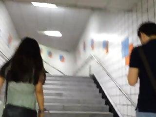 Stairs upskirt Upskirt stairs: hot asian with massive boobs