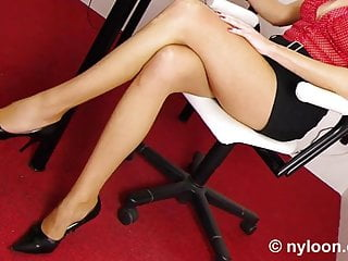 Footjob videos gay - Nylon pantyhosed secretary gives shoejob and footjob