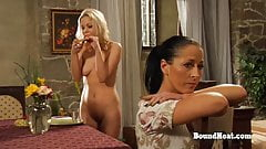 Two Lesbian Slaves Undressing And Taking A Sensual Bath