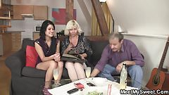 Oral 69 with his old mom and riding dad's cock