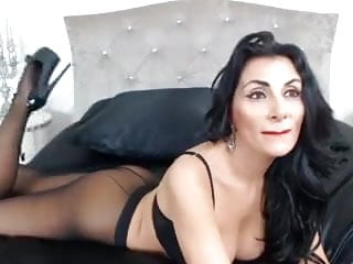 Sexy black hose Raven haired milf teases in sexy hoseheels