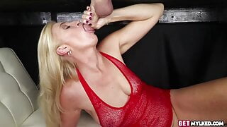 Lingerie massage milf cocksucking from under the table